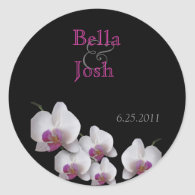 Pink Orchid Wedding Stickers