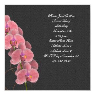 Pink Orchids Black Floral Square Invitation