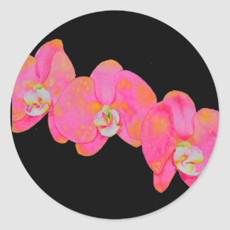 Pink Orchids Classic Round Sticker