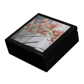 Pink Orchids Floral Photo Keepsake Boxes