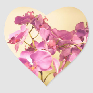 Pink Orchids Heaqrt Stickers