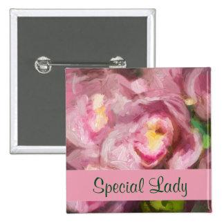 Pink Orchids Impasto 2 Inch Square Button