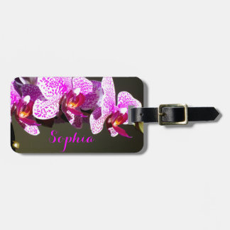 Pink Orchids Monogram Luggage Tag