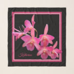 """Pink Orchids on Black Square Chiffon Scarf<br><div class=""""desc"""">Personalized with Your Own Name Monogram.  Dazzling Pink Orchids on Black with Pink and White Border.  Designed for the three square options.  Matching Box of Chocolates Available  https://www.zazzle.com/you_select_the_occasion_orchids_box_chocolates-256644636093363061</div>"""