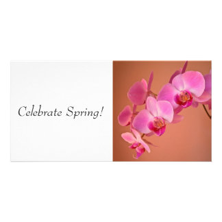 Pink Orchids Photo Card