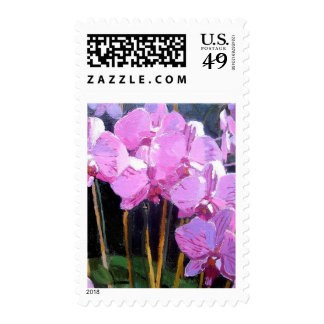 Pink Orchids Postage Stamps