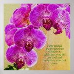 Pink Orchids Psalm 23 Custom Art Poster