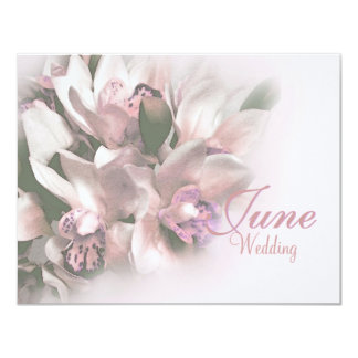 pink orchids save the date 3 4.25x5.5 paper invitation card