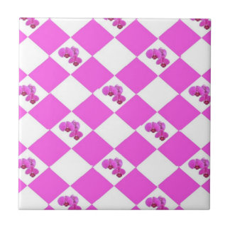 Pink Orchids Small Square Tile