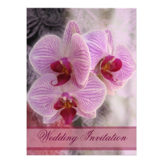Pink orchids wedding invitation