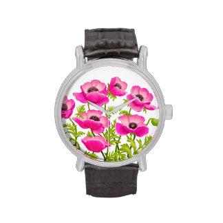 Pink Oriental Poppy Flowers Watch