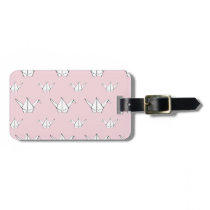 Pink Origami Cranes Luggage Tag