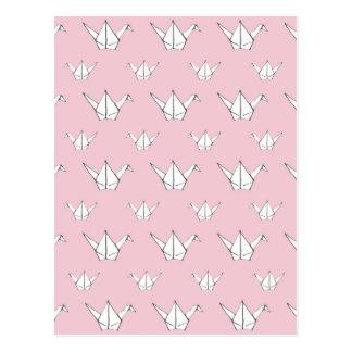 Pink Origami Cranes Postcard