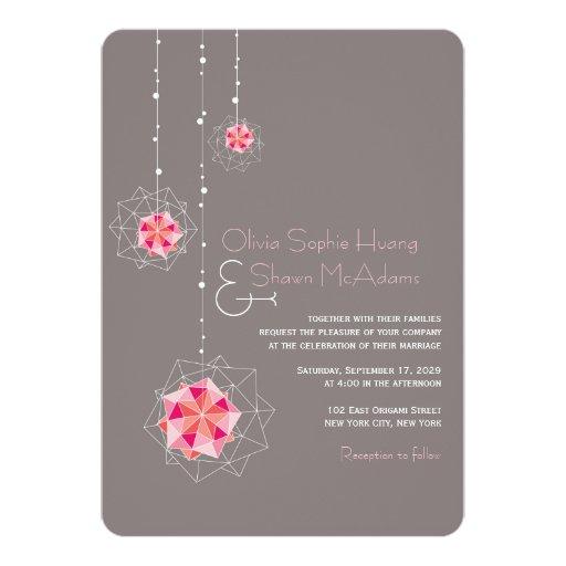 Pink Origami Ornament Lights Asian Wedding Invite