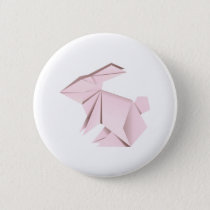 Pink origami rabbit button