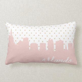 pink Orlando city skyline Lumbar Pillow