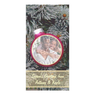Pink Ornament Nesting In Tree Photo Holiday Card
