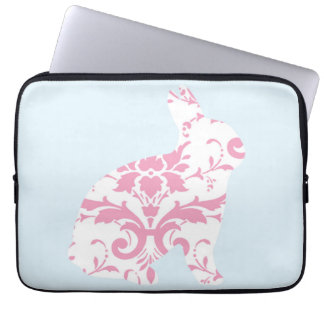 Pink ornaments bunny silhouette laptop computer sleeve