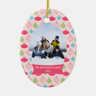 Pink ornaments Christmas holiday photo ornament