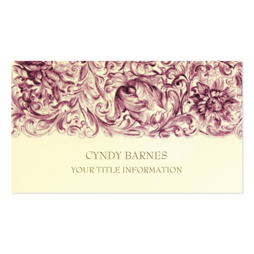 Pink Ornate Baroque Business Card