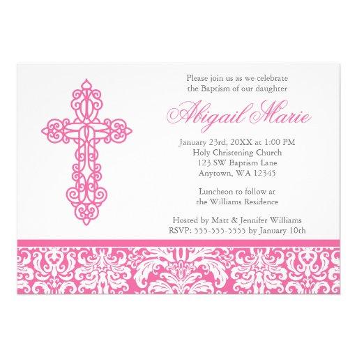 Pink Ornate Cross Damask Girl Baptism Christening Announcements