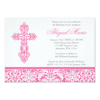 Pink Ornate Cross Damask Girl Baptism Christening Announcements