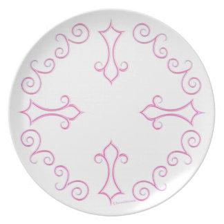 Pink Ornate Melamine Plate