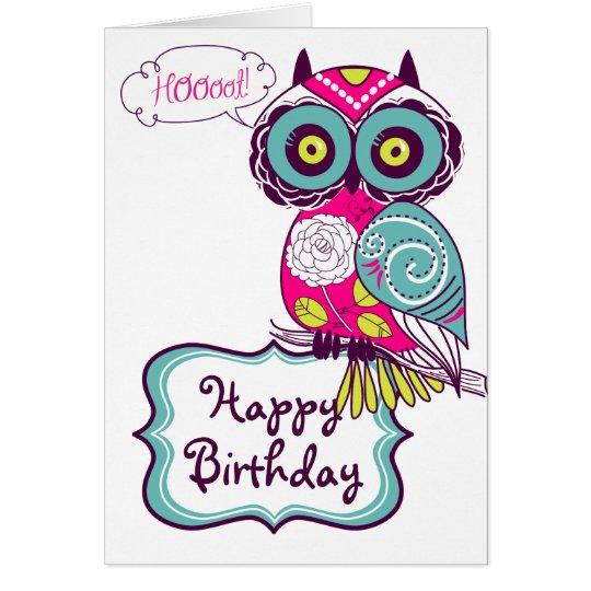 Pink Ornate Retro Floral Owl Happy Birthday Card