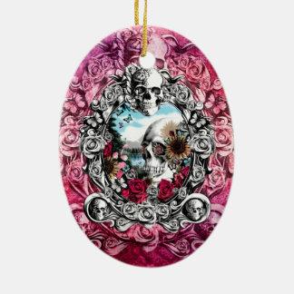 Pink Ornate skull landscape Ceramic Ornament