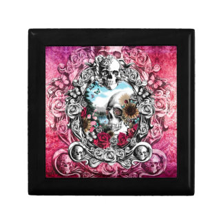 Pink Ornate skull landscape Gift Box
