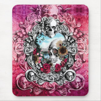 Pink Ornate skull landscape Mouse Pad