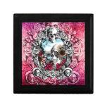 Pink Ornate skull landscape Trinket Box