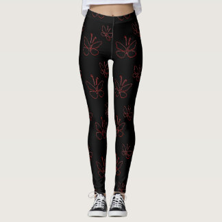 pink outline butterflies black leggings