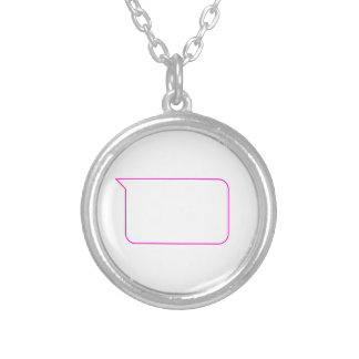 Pink Outline Chat Custom Message Bubble Silver Plated Necklace