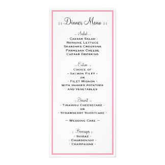 Pink Outline Reception Menu Personalized Rack Card