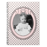 Pink Oval Frame with Bow - Customize with Your Pic Notebook