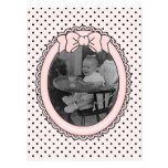 Pink Oval Frame with Bow - Customize with Your Pic Postcard