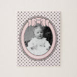 Pink Oval Frame with Bow - Customize with Your Pic Puzzles