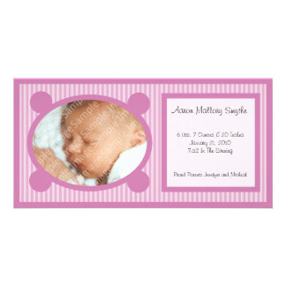 Pink Oval Striped New Baby Photo Card