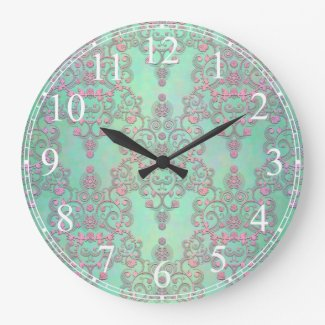 Pink over Mint Green Floral Lace Damask Large Clock