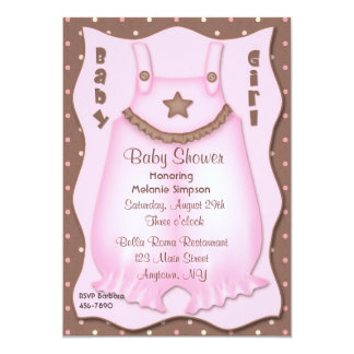 Pink Overalls Baby Shower 5x7 Paper Invitation Card
