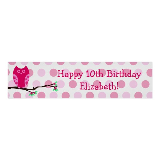 Pink Owl 10th Birthday Personalized Sign