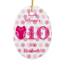 Pink Owl 10th Birthday Photo Ornament