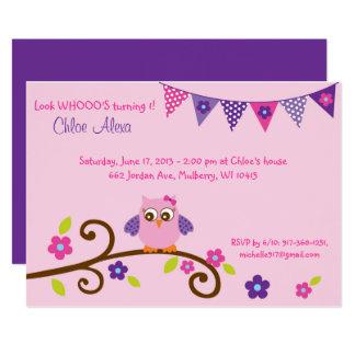Pink Owl 1st Birthday Card