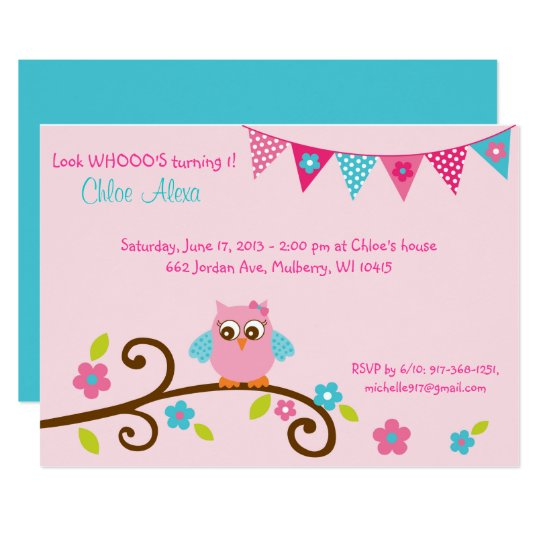 Pink Owl 1st Birthday Invitation Zazzle Com