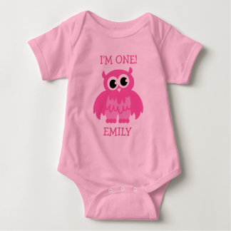 Pink owl 1st Birthday jumpsuit for baby girl Shirt