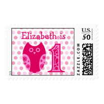 Pink Owl 1st Birthday Personalized Postage