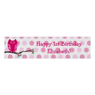 Pink Owl 1st Birthday Personalized Sign Poster