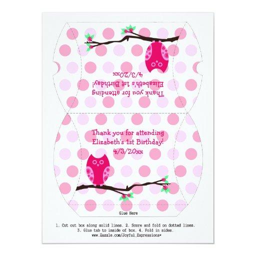 Pink Owl 1st Birthday Pillow Favor Box 6.5x8.75 Paper Invitation Card