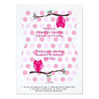 Pink Owl 1st Birthday Pillow Favor Box Personalized Invitation